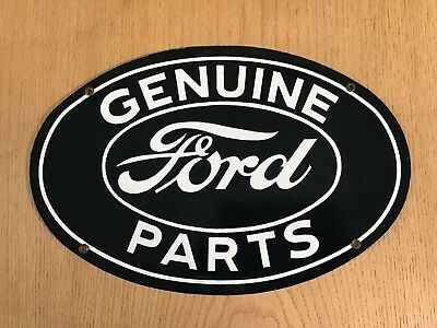 Vintage Ford Genuine Parts Metal Porcelain Sign 16 X 11 Pump Plate Gas Oil Cars