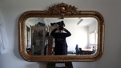 Antique Vintage Style Rectangle Louis Carved Gold French Mirror - Beveled - 637