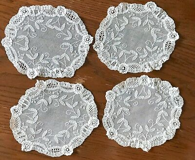 Antique Brussels Princess Lace Rounds Or Coasters Set Of Four 6 Inches