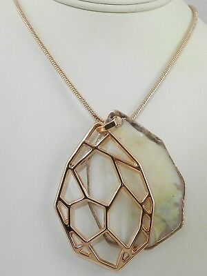 Kenneth Cole   Rose Gold-Tone Mother-of-Pearl Shell Slider Pendant Necklace