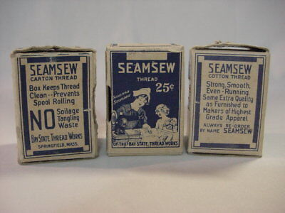 Vintage 3 Seamsaw Cotton Thread Wooden Spools Spindle Box Bay State Thread Works