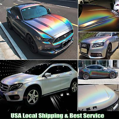 Glossy Car Rainbow Laser Holographic Chameleon Chrome Vinyl Wrap Sticker - ABUS