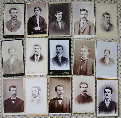 LOT OF 25 ANTIQUE CDV PHOTOS VARIOUS PORTRAITS HANDSOME DAPPER MEN w/ MUSTACHES