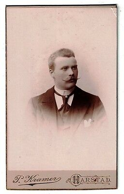 Antique 1870 Cdv Photo Dapper Gent Handlebar Mustache P. Kramer Harstad Norway