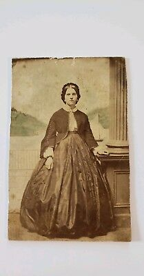 Vintage Civil War Era Portrait Woman 18 George Pillar Unknown Photographer Cdv