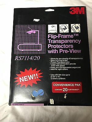 3M Flip-Frame Transparency Protectors with Pre-View RS7114 Pack of 20