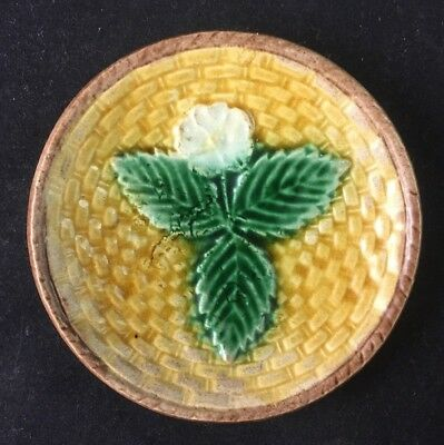 "🔵 Antique Majolica BASKETWEAVE and FLOWER 3 1/8"" Butter Pat - 1 of 3"