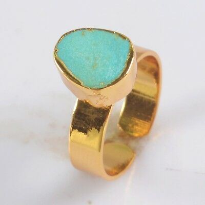 Size 7.5 Natural Genuine Turquoise Adjustable Ring Gold Plated B071298