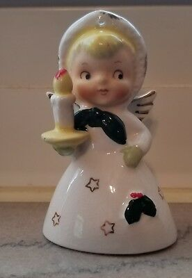 Vintage  Porcelain Angel w/Candle Holly Ornament BELL Japan Early 1960's