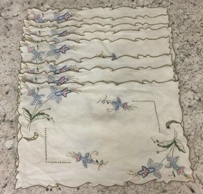 8 Vintage Off-White Linen Placemats Cutwork Blue Green Red Floral Embroidered