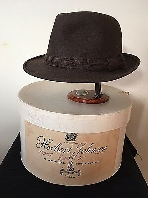 Herbert Johnson Men's Trilby Hat And Original Hat Box. Med Size