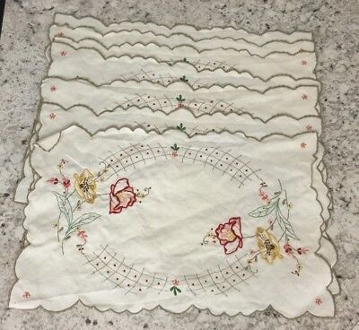 7 Vintage Off-White Linen Placemats Green Red Yellow Pink Floral Embroidered