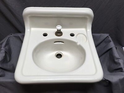 Antique Ceramic White Porcelain Bath Wall Sink Old Crane Vtg Trenton 557-18E