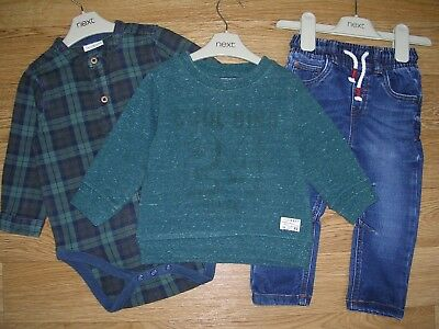 NEXT Boys Green Jumper Sweater Shirt Jeans Outfit Set Age 9-12m