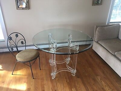 Charles Hollis Jones Lucite with Glass Top Dining Table Rare Mid-Century