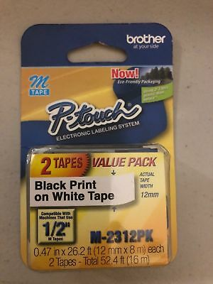 """Brother M231 P-Touch Label Tape Ptouch ORIGINAL NIB 1/2"""" M-231 M-2312PK-2pack"""