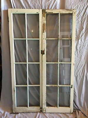 Pair Antique 8 Lite Casement Door Windows Cabinet Shabby 18X58 Vtg Chic  214-18C
