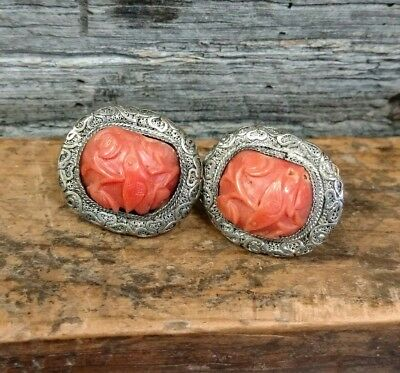 Antique Pair of Chinese Export 800 Silver Coral Screw Back Earrings