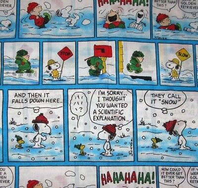 Snoopy Peanuts Woodstock Winter Comic Fleece Fabric New 10 95