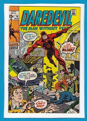 """Daredevil #74_March 1971_Very Fine+_""""the Whole City's Gone Blind""""_Bronze Age!"""