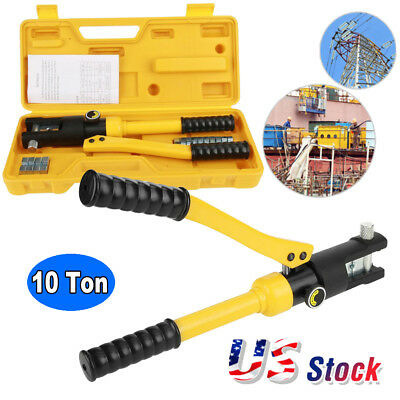 10 Ton Hydraulic Wire Terminal Crimper Battery Cable Lug Crimping Tool w/Dies US