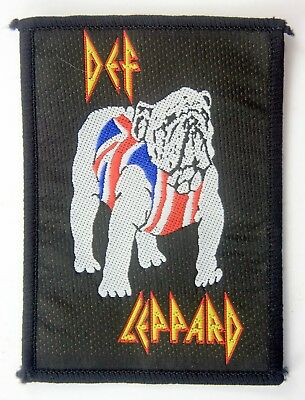 DEF LEPPARD 'Bulldog' Vintage Sew-on Woven Patch * Metal *