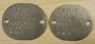 Vintage WWII (WW2) USMCR Marine Corps Dog Tags Private First Class Asian Pacific