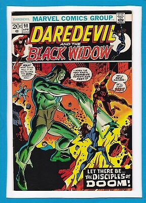 """Daredevil And The Black Widow #98_April 1973_Very Fine+_""""the Disciples Of Doom""""!"""