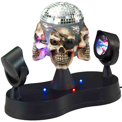 NEW Pirate Skull Mirror Ball Multi-colored LED Party Lighting & Built In Hanger