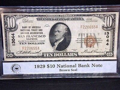 """1929 $10 National Currency T-1 Bank Note Charter #13044 """"Type 1""""  ECC&C, Inc."""