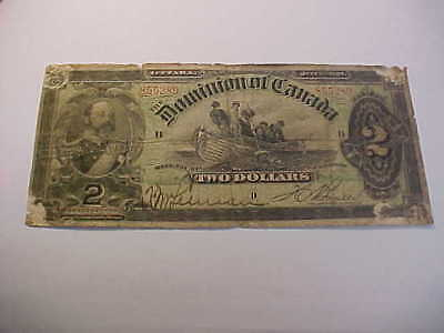 Dominion of Canada 1897 Issue $2 Large Size Note BOVILLE ,  GOOD,  RARE