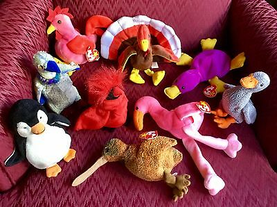 9 Ty Beanie Baby Bird Beak Pinky Strut Patti Chill Honks Mac Buzzy Gobbles Plush