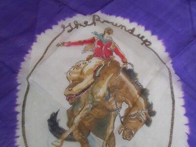 Vintage Pendleton Silk Scarf Let'er Buck-The Round Up-Rodeo Cowboy -Original Tag
