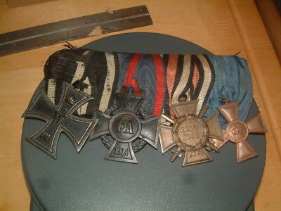 4 Original German Ww1 Medals Set Up On Bar With Ribbons