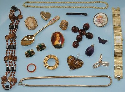 Job Lot Vintage & Modern Collectables Jewellery Monet Cameo Scarf Clips Watch &c