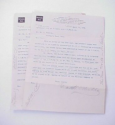Lot of 2 Burlington Route Railroad Letterhead/Stationery 1903 Typed Letters x2
