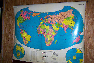 "Vintage Cram's, Teaching, ""Political Map of The World""...............LQQK!"