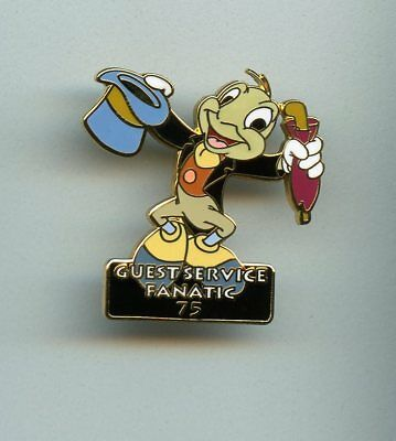 Disney MGM Studios Jiminy Cricket Guest Services Fanatic 75 Cast Award Pin