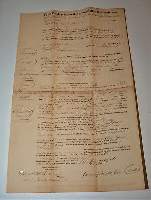 """1828 Bill of Sale for Ship """" JAMES """" in Portsmouth NH Ship has 3 Masts,2 Decks"""