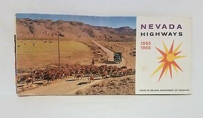 Vintage 1965-1966 State of Nevada Department of Highways map