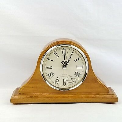 """Westminster Chime Mantle Clock Oak Wood Case Convex Glass 12"""" Long 7"""" Tall New"""