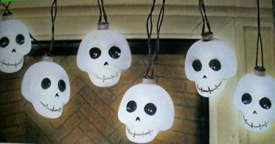 Set of 8 Flashing Halloween Skull Lights with Sound - Battery Operated