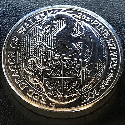 2017 Queen's Beast Red Dragon of Wales 2 oz .9999 Silver UK Coin Brexit
