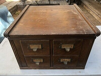 Antique Oak Dovetailed 4 Drawer Library Index Card File Used In Post Office