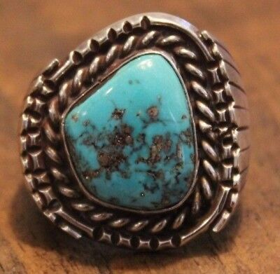 MEN'S Huge Morenci Turquoise Native American Ring.  Old Pawn. Sterling Silver.