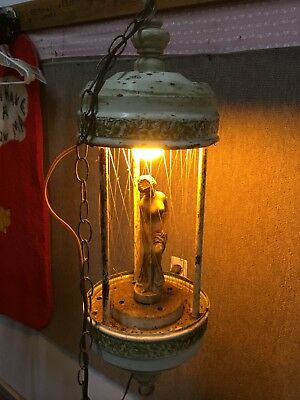 Large 30 Inch Tall Vintage Mineral Oil Raindrip Hanging Lamp Greek Goddess