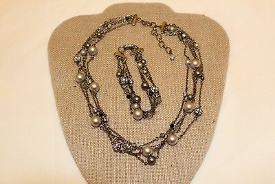 Swarovski TWO PIECE Signed and Swan Signed Multi-Strand Necklace & Bracelet Set