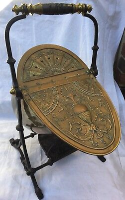 VICTORIAN COAL SCUTTLE HIGHLY ORNATE 1880's ORIGINAL EXAMPLE IRON BASE BRASS