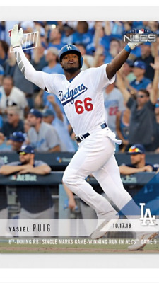 2018 TOPPS NOW NLCS CARD GAME #5 DODGERS YASIEL PUIG #903 RBI SINGLE IN THE 6th