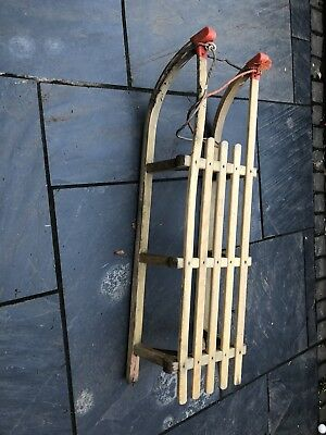 43 Inches Long Vintage Wooden Sled Sledge Shop Display? Shelves? West German